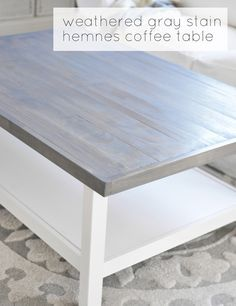 wood top with weathered gray stain on IKEA hemnes table from Centsational girl  all supplies including table $200