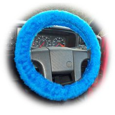 Faux fur Royal Blue fuzzy car steering wheel cover fluffy furry car... via Polyvore featuring accessories