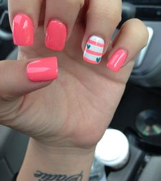 Creative Nail Designs...I wonder if an anchor instead of the hearts would be cute