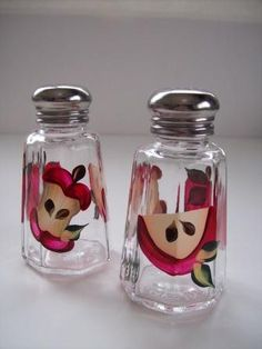Shaker set-Hand painted salt and pepper by Morningglories1 on Etsy