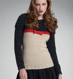 Modèle pull femme avec petit noeud