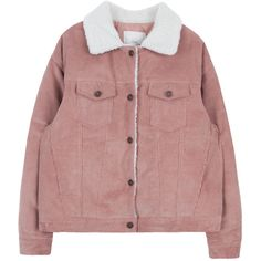 Fur Collar Corduroy Jacket (£23) ❤ liked on Polyvore featuring outerwear, jackets, coats & jackets, tops, long sleeve jacket, corduroy jacket, cordoroy jacket, bunny jacket and red jacket