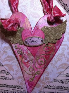 """Valentine """"Winged Heart"""" by born 2 b creative, via Flickr. Love handcrafted heart card with glitter wings for Valentine's Day."""