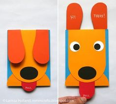 ... wollt ihr eine lustige Karte basteln?       Dieser Hund übermittelt eine Nachricht wenn er die Zunge rausstreckt ;)   Für kleine Bastela...