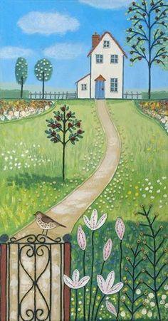 Art And Illustration, Mixed Media Canvas, Mixed Media Art, Art Fantaisiste, Cottage Art, Naive Art, Whimsical Art, Landscape Art, Painting Inspiration