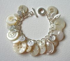 Button Bracelet White Spring Frost by Mrs Gibson on Etsy. Lovely button bracelet for a spring bride perhaps.