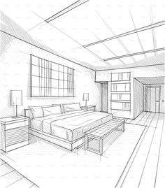 Vector illustration of interior design. Interior Architecture Drawing, Architecture Drawing Sketchbooks, Architecture Concept Drawings, Drawing Interior, Interior Design Sketches, Architecture Design, Classical Architecture, Room Perspective Drawing, Perspective Sketch