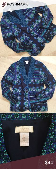 Blue and green silky patterned Chico's blazer Gorgeous blazer from Chico's in perfect condition! Size 0 in Chico's which is 4-6 in women's. Chico's Jackets & Coats Blazers