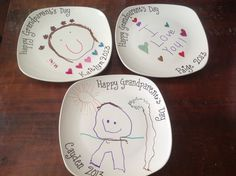 Grandparents Day Craft. I bought the plates for $1 at Dollar Tree and the kids drew pictures with sharpies. Bake at 350 for 30 minutes.