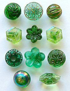 Green glass buttons.