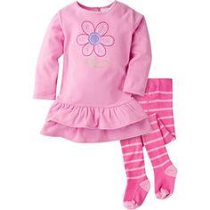 Gerber Baby Girls' Micro Fleece Dress with Tights, Daisy, 24 Months