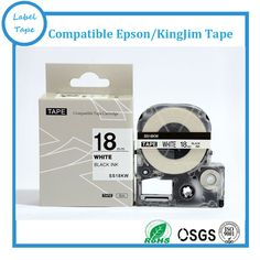 Compatible LC Tape SS18KW Label Tape 18mm Black on White for KING JIM /EPS Labelworks