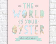 Nursery Map Art The World Is Your Oyster by WanderingFables Pastel Nursery, Nursery Prints, Nursery Design, Nursery Art, Nursery Ideas, Nursery Decor, 16x20 Frame, Thing 1, Baby Shower Balloons