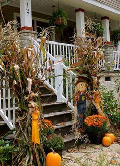 Cornstalks And Scarecrows