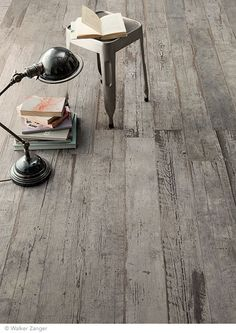 "Blendart has the look of vintage barnwood using the most up-to-date porcelain tile technology. Shown here in Grey, size 6"" x 47"""