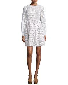 Michael Kors Long-Sleeve Eyelet Fit-&-Flare Dress, Optic White, Women's, Size: 4