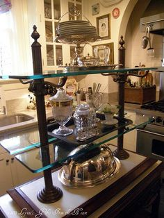 French Bistro Shelves Vintage Reproduction Shelves With