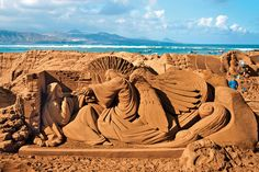 An angel sand sculpture crafted by an artist at Playa de las Canteras, a beach near Las Palmas, Gran Canaria, Spain #angels #spain #angelsightings #angelart