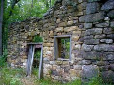 Ruins of an old stone cottage.