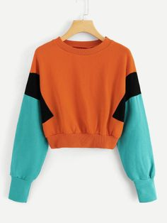 Outfit Online, Dresses Online, Sweatshirt Outfit, Sweatshirts Online, Pullover, Sweat Shirt, Color Blocking, Fashion Outfits, Crop Tops