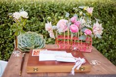 love the test tube holder! guest book table // event design by Honey and Twine Events, photo by Kimberly Chan Photography