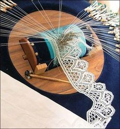 "Making lace the ""bobbin"" lace way, an art around since 900AD in Asia....."