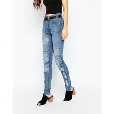 Cheap Monday Second Skin Jeans ($53) ❤ liked on Polyvore featuring jeans, innocence blue, cheap monday jeans, cheap monday and white jeans