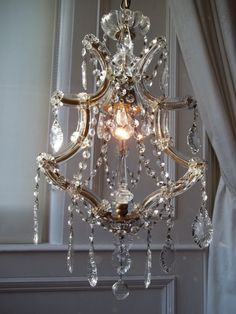 Vintage French Crystal Cage Chandelier
