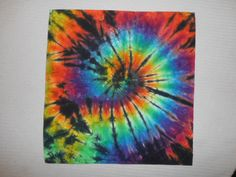 Tie Dye Bandana - Rainbow spiral with edgy black streaks (named Migraine!!)  Fun Stocking Stuffer, small gift, or dog bandana! by FarmFreshTieDyeStore on Etsy