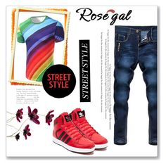 """Rosegal"" by slavka-jovic ❤ liked on Polyvore featuring adidas, men's fashion and menswear"