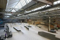 AREA 51: One of the largest indoor skateparks in europe located in the netherlands. Complete with 5 sections, half pipe, street course, skate school, mini ramp, and a outdoor section. The indoor section is completely wooden making it very easy to move and exchange ramps around. One of the best features about Area 51.