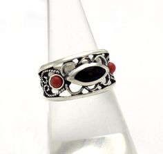Silver, jet and coral ring. Handmade in Galicia. Artcraft of The Way of Saint James. Tax free $41.90