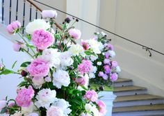 colorful flowers; stairway, foyer, rose, white, bouquet, arrangement Stairways, Colorful Flowers, Foyer, Floral Wreath, Bouquet, Wreaths, Home Decor, Stairs, Ladders
