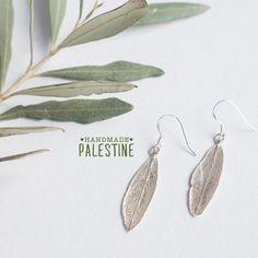 Handmade Mother of Pearl Broad Leaf Sterling Silver Earrings Bethlehem Palestine