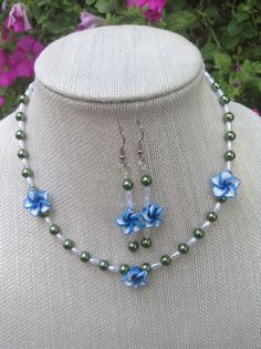 Floral Necklace and Earrings Blue Flower by DragonflyDenim on Etsy