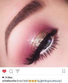 Plum, pink, rose, gold, halo eye makeup
