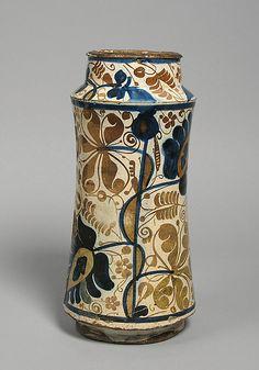 Pharmacy Jar, tin glazed earthenware. Spain, circa second half 15th century