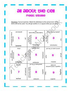 All About the Cell: Magic Square from KlaRenays Shop on TeachersNotebook.com -  (2 pages)  - Do your students know about the cell and its organelles? Here's an engaging way to find out! Use a magic square!