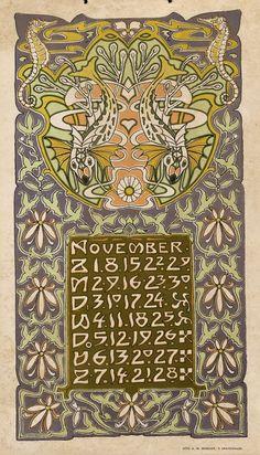 senses-working-overtime:  Art Nouveau / Jugendstil Calendar L. Visser, 1903
