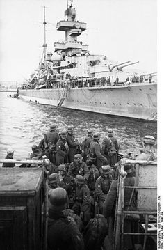 The German cruiser Admiral Hipper landing troops in Trondheim. This Day in History:  Apr 9, 1940: Germany invades Norway and Denmark in Operation Weserübung http://dingeengoete.blogspot.com/
