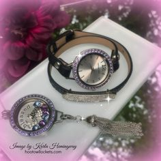 Origami Owl - Signature Twist Watch, and Twist Locket with Dangle Collector in beautiful Tanzanite!