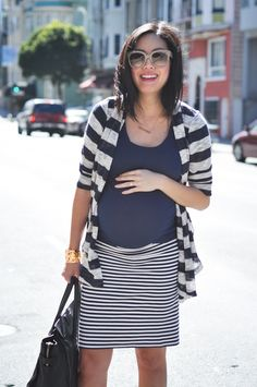 Stripes on stripes: 9to5 Chic Maternity Fashion