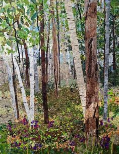 Birches-and-Sweetpeas art quilt by Ann Loveless