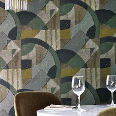 Abstract 1928 by Zoffany - Antique Olivine - Wallpaper : Wallpaper Direct