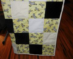 Yellow White Zebras Gender Neutral Baby Quilt Cute by QuiltsbyDSJ