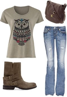 """Owl and Boots"" by alyssakrause on Polyvore"