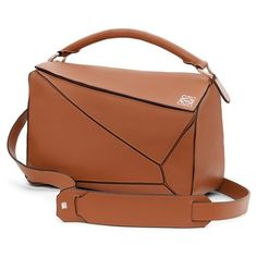 Women's Loewe 'small Puzzle' Leather Bag ($2,350) ❤ liked on Polyvore featuring bags, handbags, shoulder bags, tan, leather handbags, tan shoulder bag, tan purse, brown purse and leather shoulder handbags