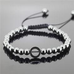 1 pcs homens Pulseiras, Micro preto round & 6mm Rodada Beads Trança Macrame Pulseira Para Homens e Mulheres em Charme Pulseiras de Jóias & Acessórios no AliExpress.com | Alibaba Group