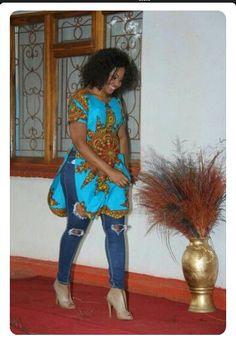 Jeans and kadar dashiki shirt- African ready wear.