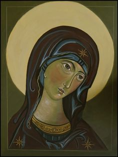 "After a workshop w. George Kordis in Ottawa, A study, ""Theotókos"" (God-Bearer) Egg tempera on wood (dry technique) September, 2014 by Odarka Byzantine Icons, Princess Zelda, Disney Princess, Disney Characters, Fictional Characters, Behance, Gallery, Drawings, Artwork"